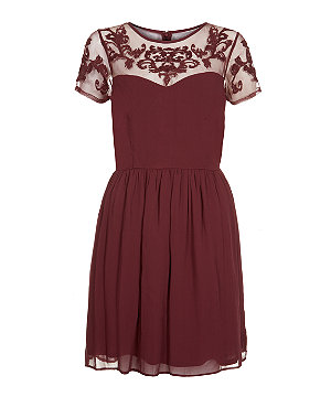 Burgundy Embroidered Mesh Sweetheart Cap Sleeve Dress